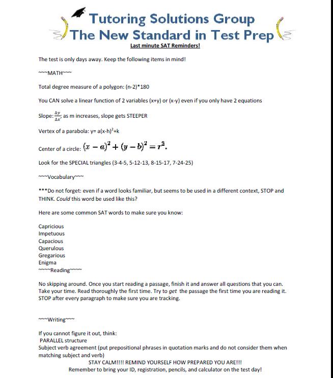 Last Minute SAT Reminders!   Tutoring Solutions Group-SAT
