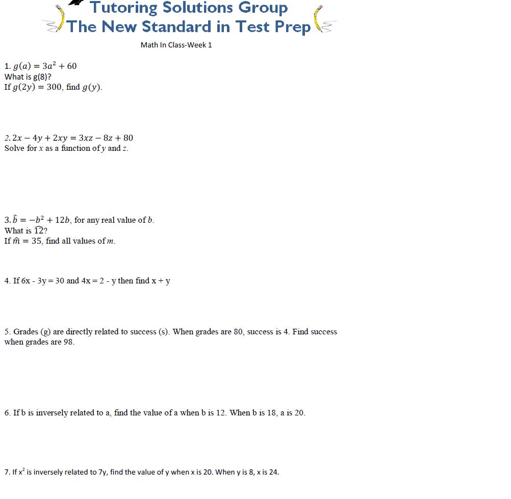 ACT Math Practice- WEEK 1